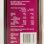 Highland Crush Cherry 1000ml nutrition panel enlarged